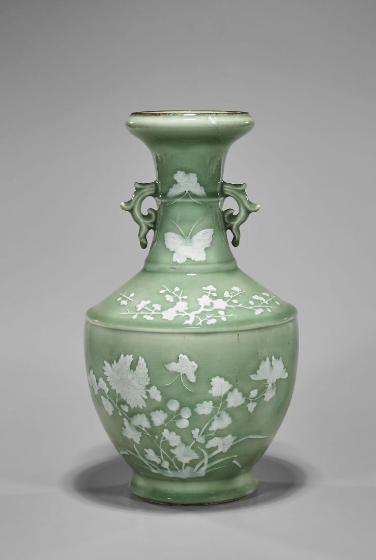 Antique Chinese Celadon Glazed Porcelain Vase