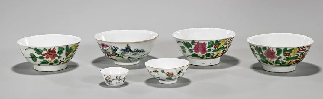 Group of Six Antique Chinese Enameled Porcelain Bowls &