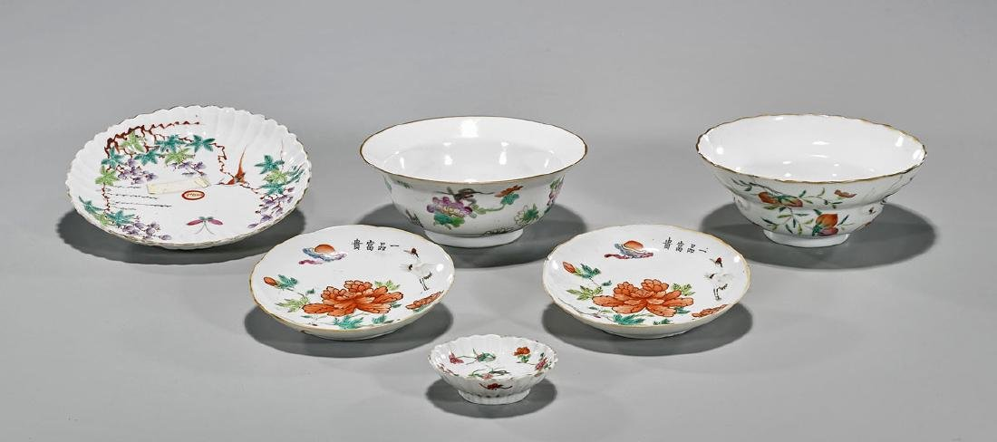 Group of Six Antique Chinese Enameled Porcelain Dishes