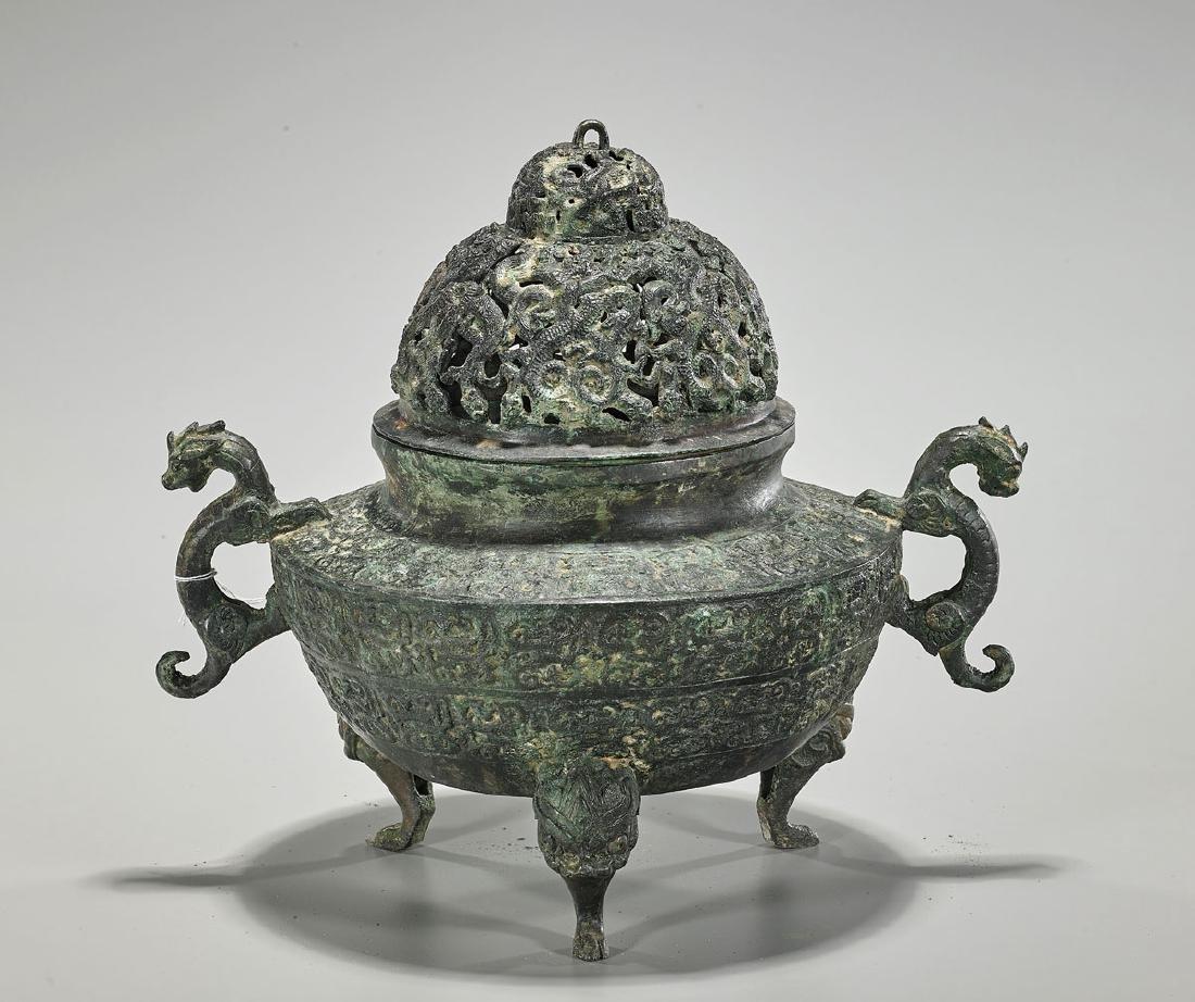 Chinese Archaistic Bronze Tripod Censer