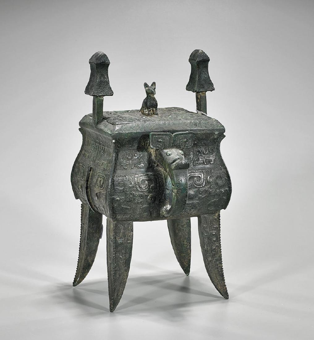 Chinese Archaistic Bronze Covered Ding Vessel