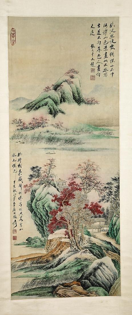 Two Chinese Scrolls: After Zhang Daqian & He Haixia