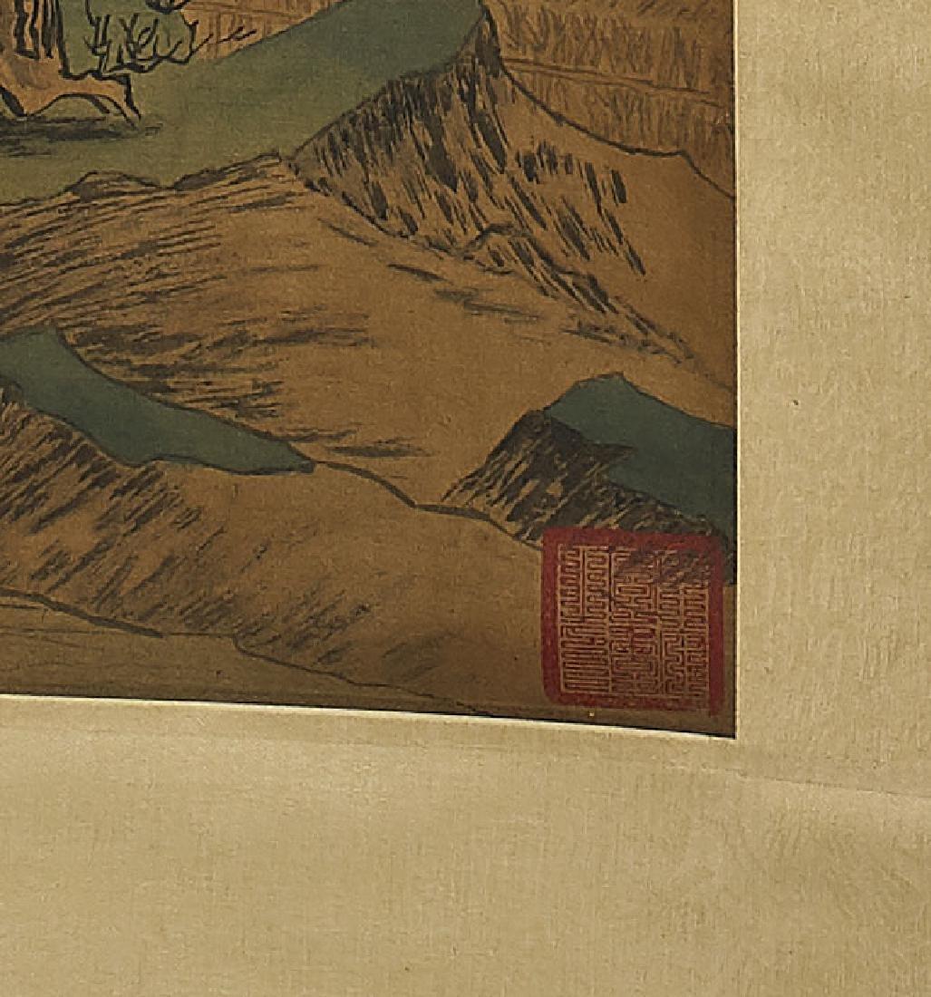 Two Chinese Silk Scrolls: After Tang Yin & Wang Meng - 3