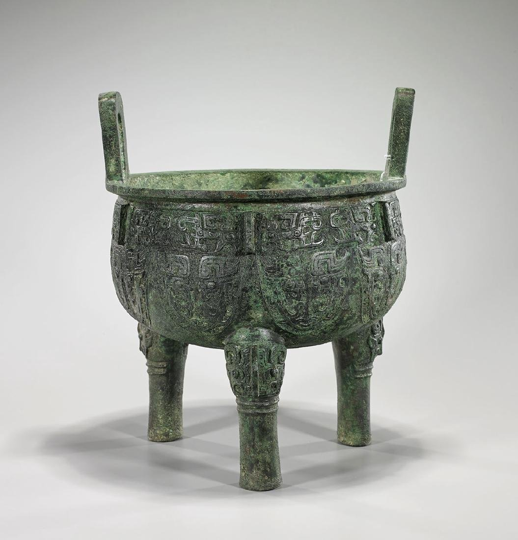 Large Shang-Style Bronze Ding Vessel