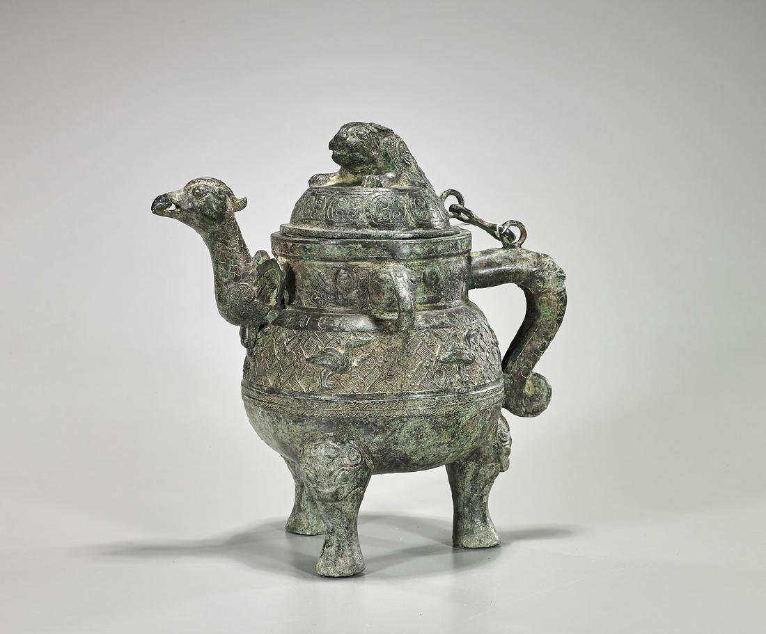 Chinese Archaistic Bronze Covered Ewer