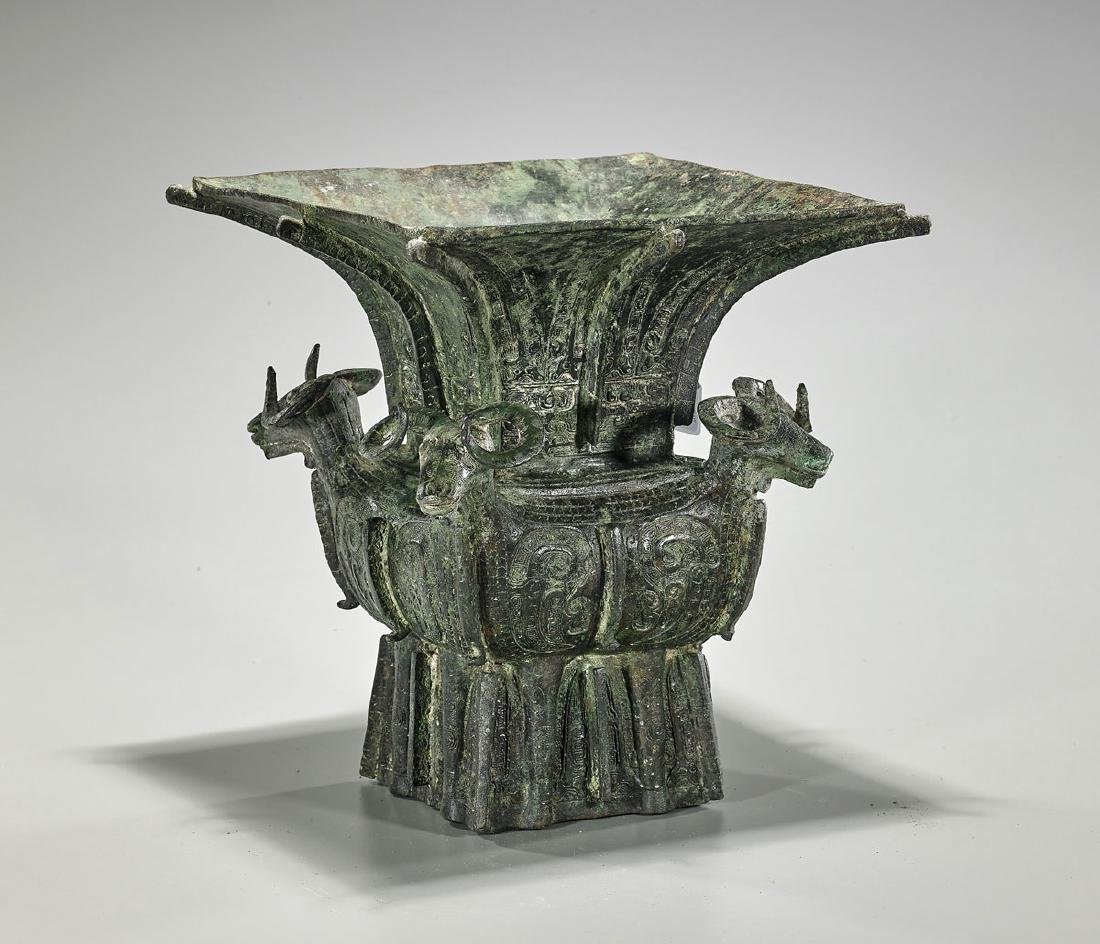 Chinese Archaistic Bronze Zun Vessel