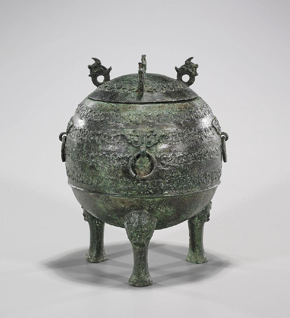 Chinese Archaistic Bronze Covered Vessel