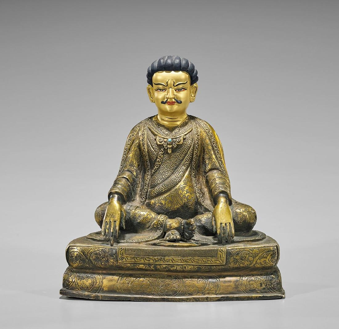 Nepalese Gilt Copper Seated Marpa