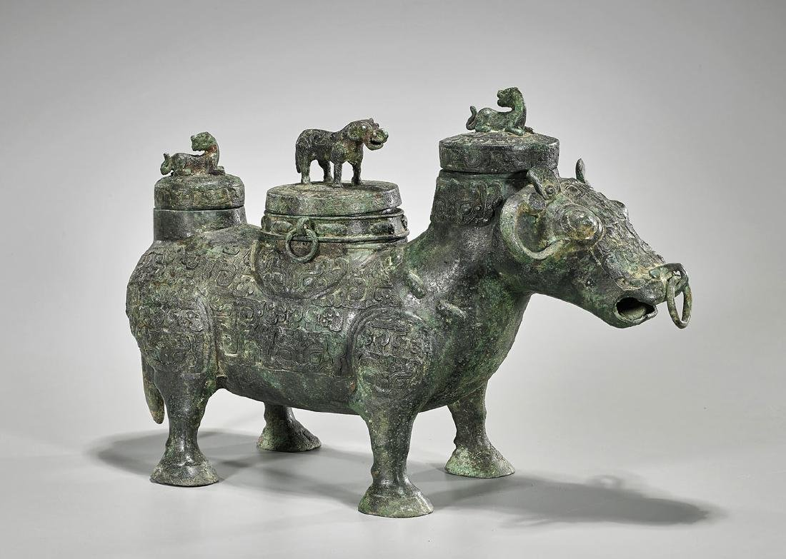 Large Chinese Archaistic Bronze Covered Wine Vessel