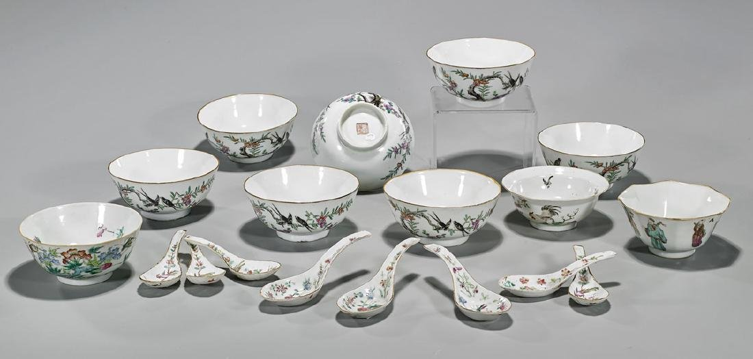 Eighteen Antique Chinese Enameled Porcelains: Bowls &