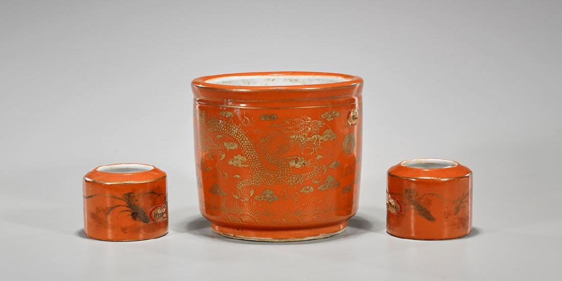 Three Antique Tongzhi Period Coral-Red Glazed Porcelain