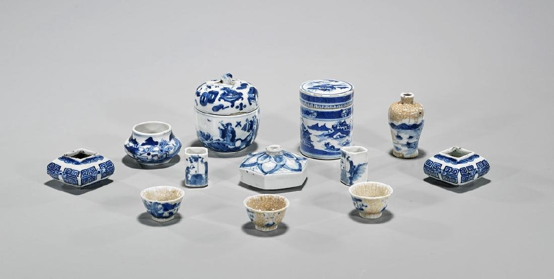 Group of Twelve Antique Chinese Blue & White Porcelain