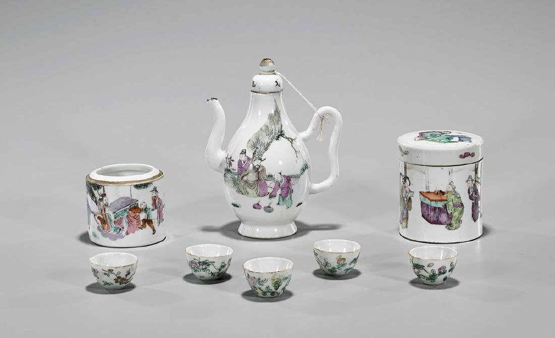 Group of Eight Antique Chinese Enameled Porcelain Items