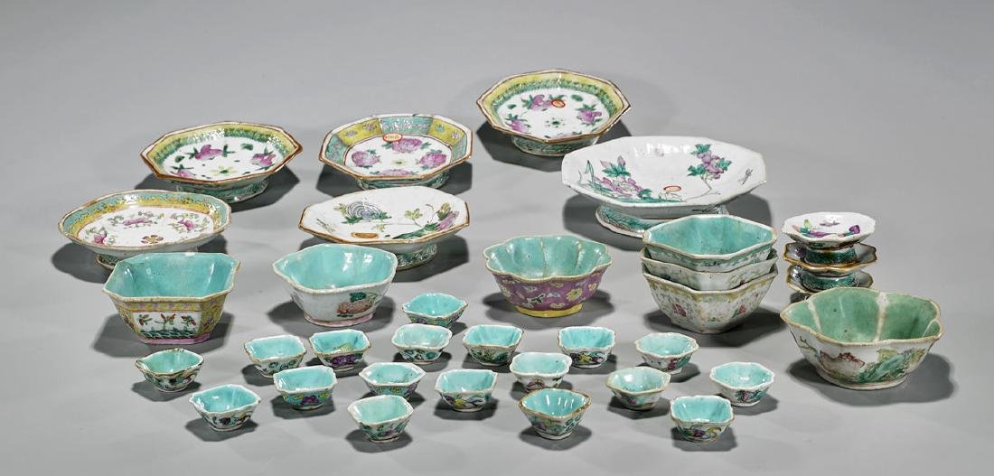 Large Group of Thirty-Four Antique Chinese Enameled