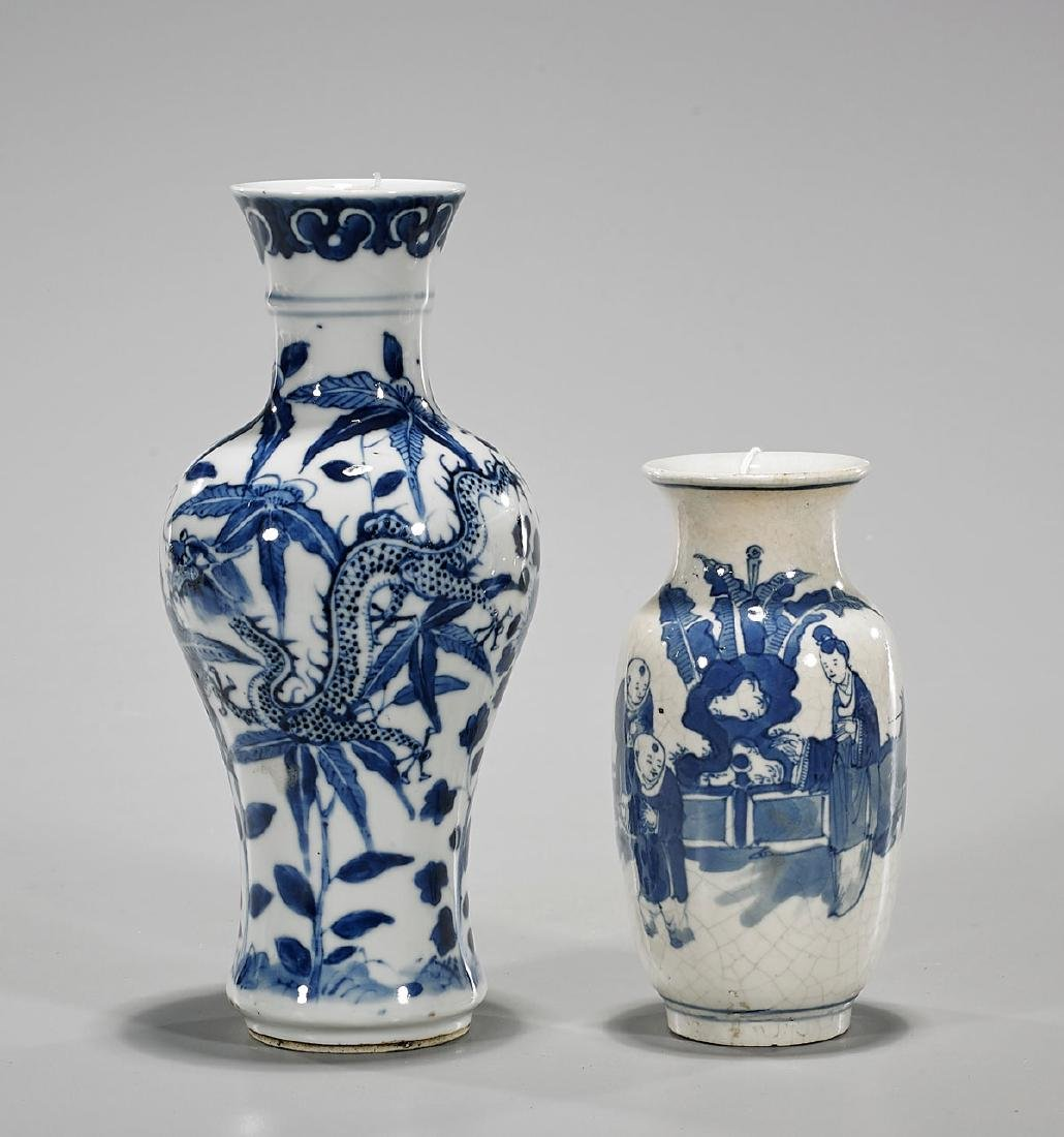 Two Antique Chinese Blue & White Porcelain Vases