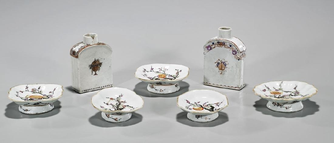 Group of Seven Antique Chinese Enameled Porcelain Items