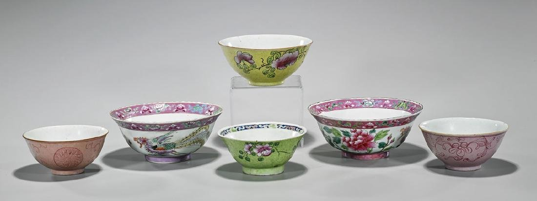 Group of Six Old & Antique Chinese Enameled Porcelain