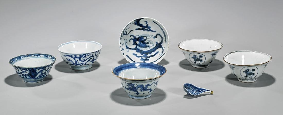Group of Seven Antique Chinese Blue & White Porcelains