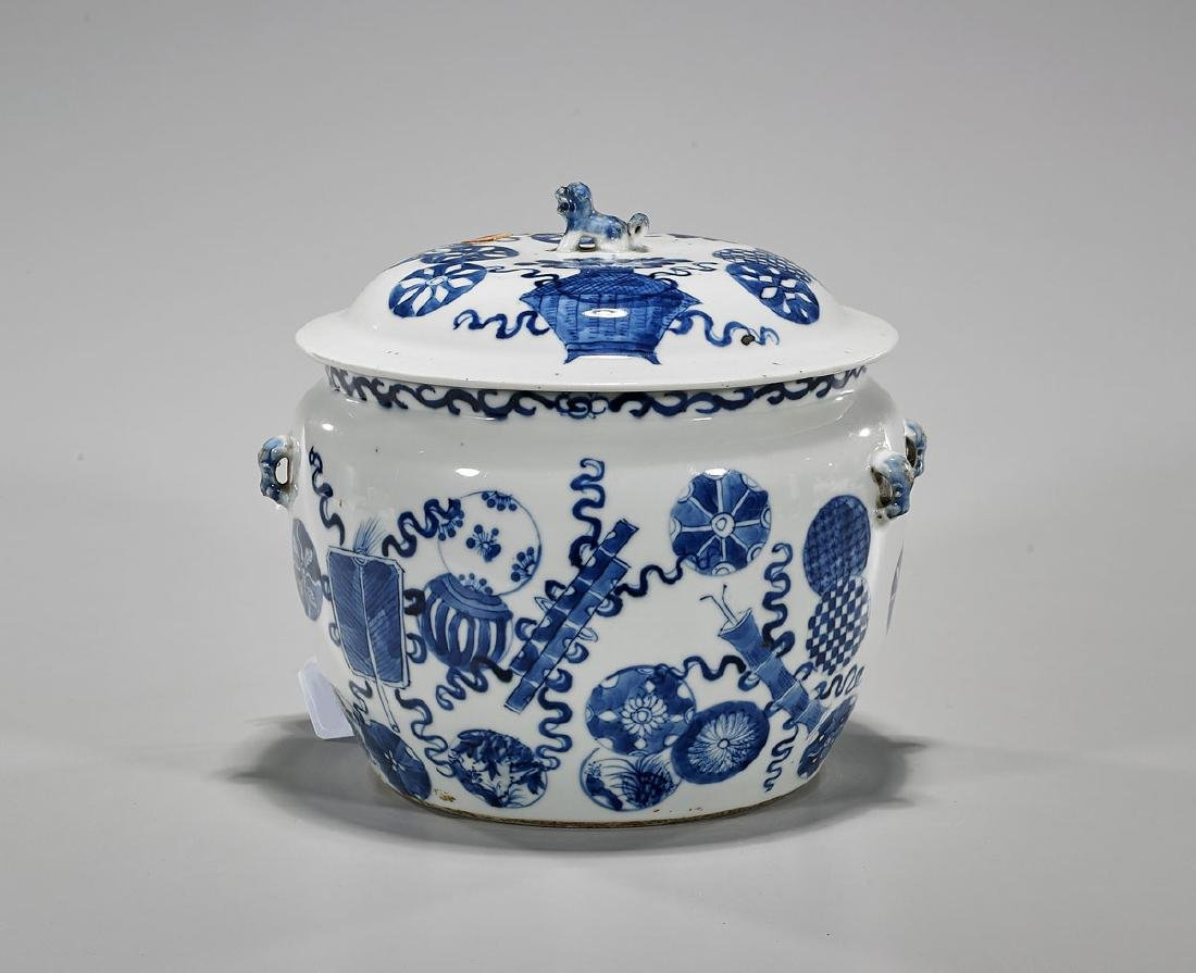 Antique Chinese Blue & White Porcelain Covered Jar