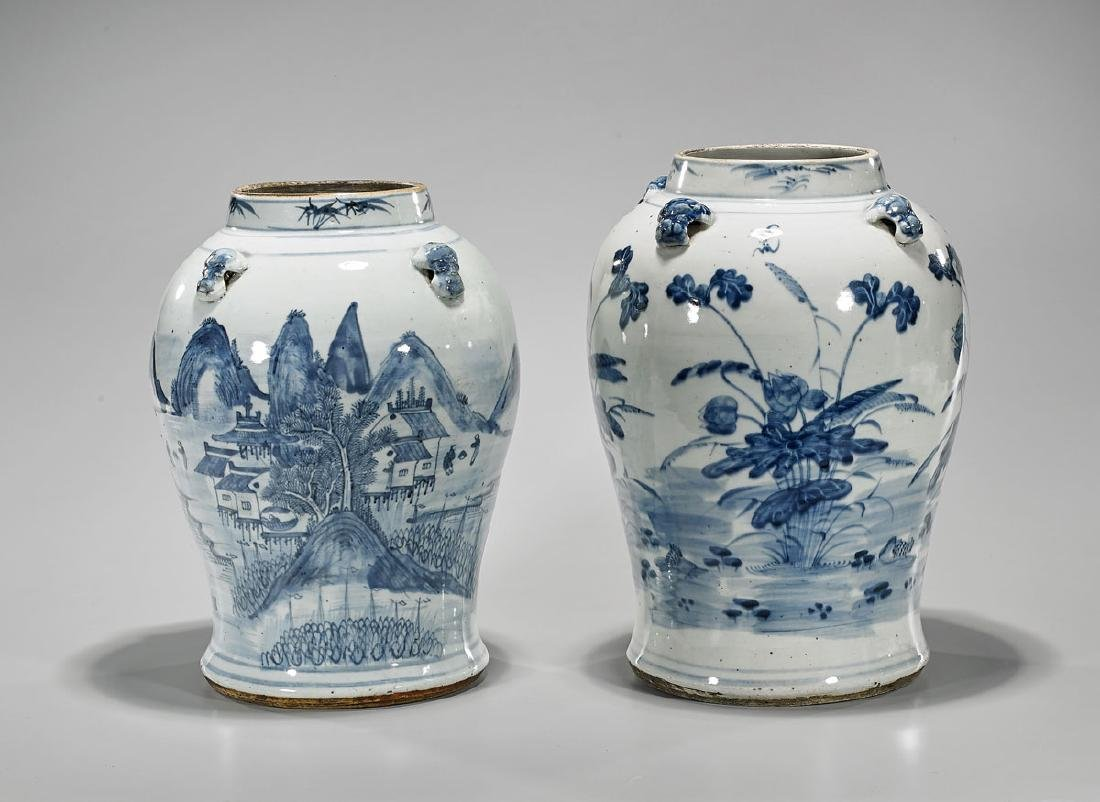 Two Antique Chinese Blue & White Porcelain Jars