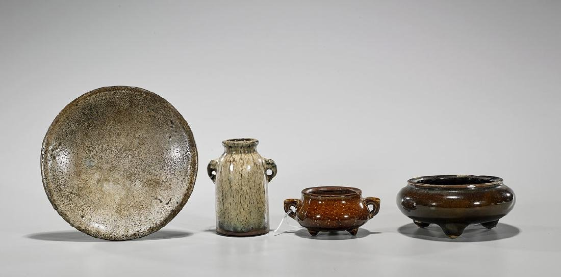 Group of Four Antique Chinese Glazed Ceramic Pieces
