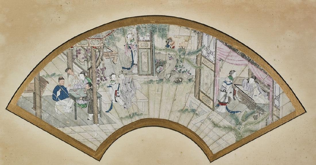 Group of Nine Various Chinese Fan Paintings