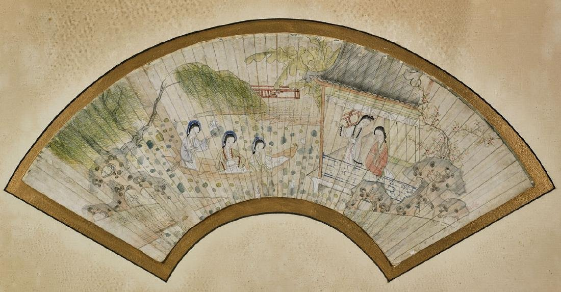 Group of Nine Various Chinese Fan Paintings - 7