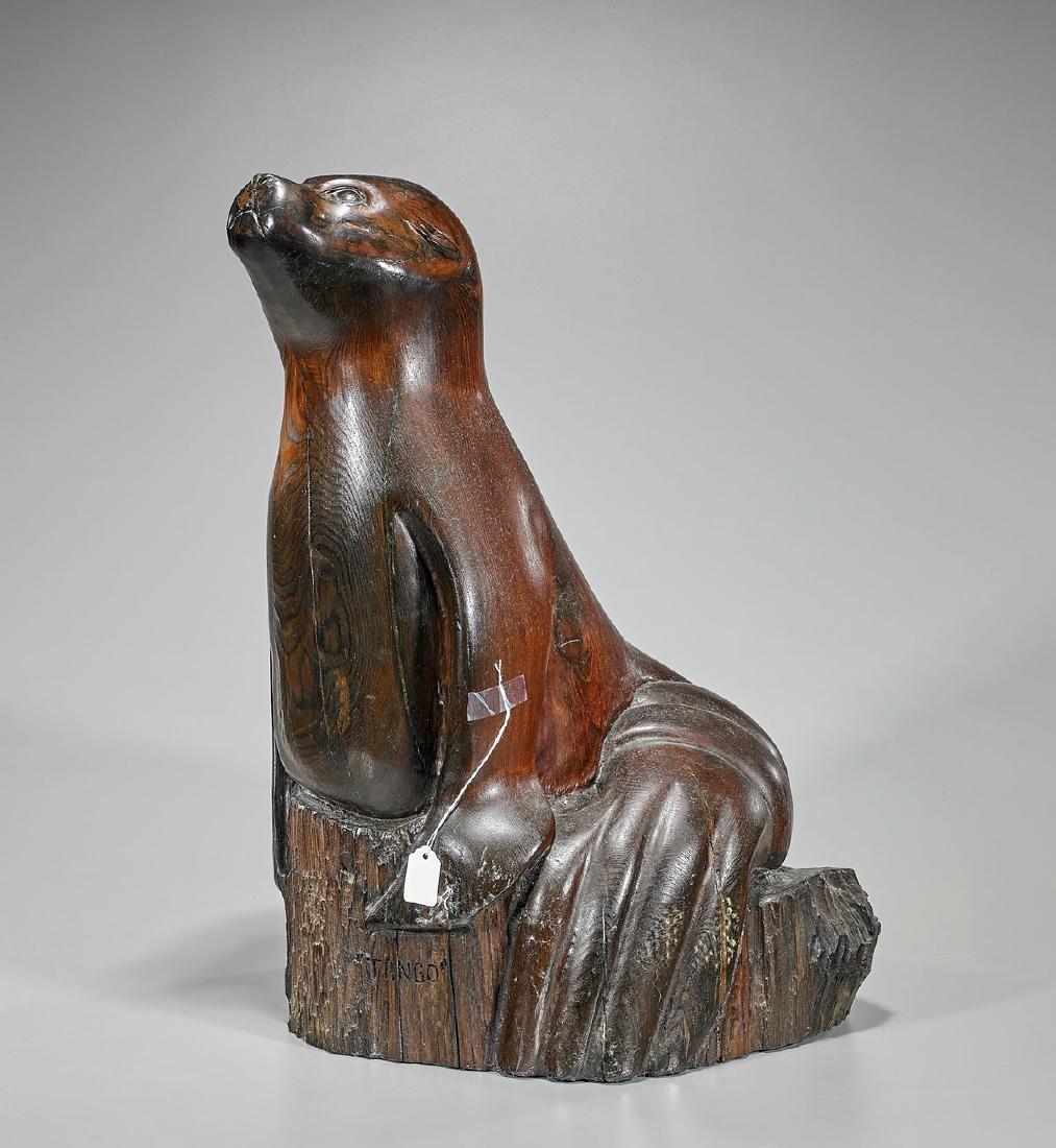 Wood Sculpture of a Seal: Signed J. Henderson