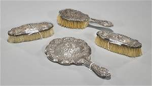 Antique FourPiece Gorham Sterling Silver Vanity Set