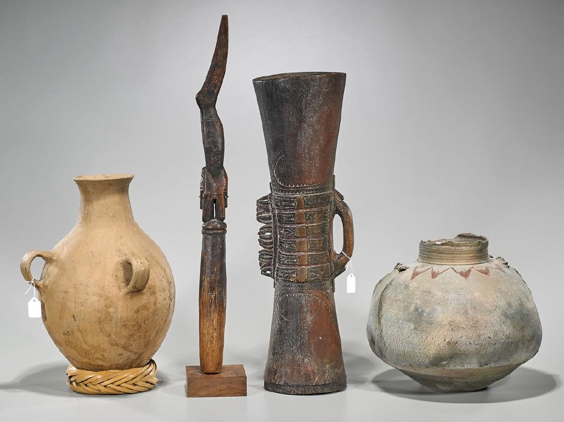 Three Various African Pottery & Carved Wood Pieces