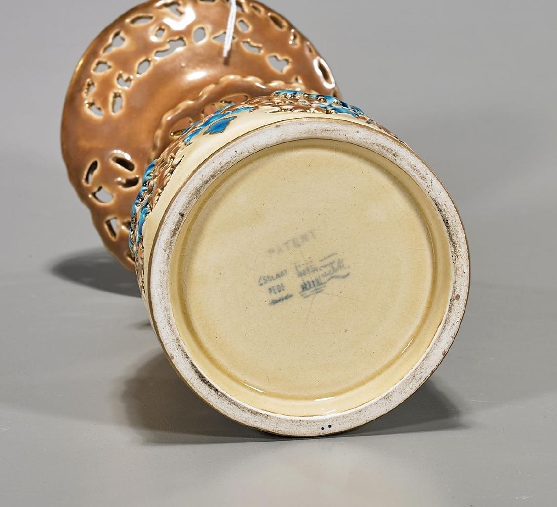 Antique Hungarian Zsolnay Glazed Pottery Vase - 2