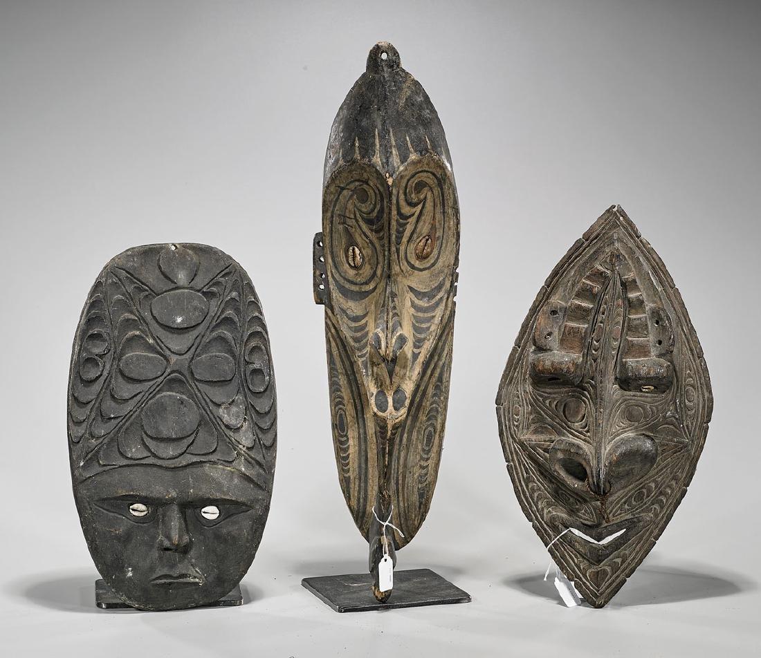 Group of Three Papua New Guinea Wood Masks