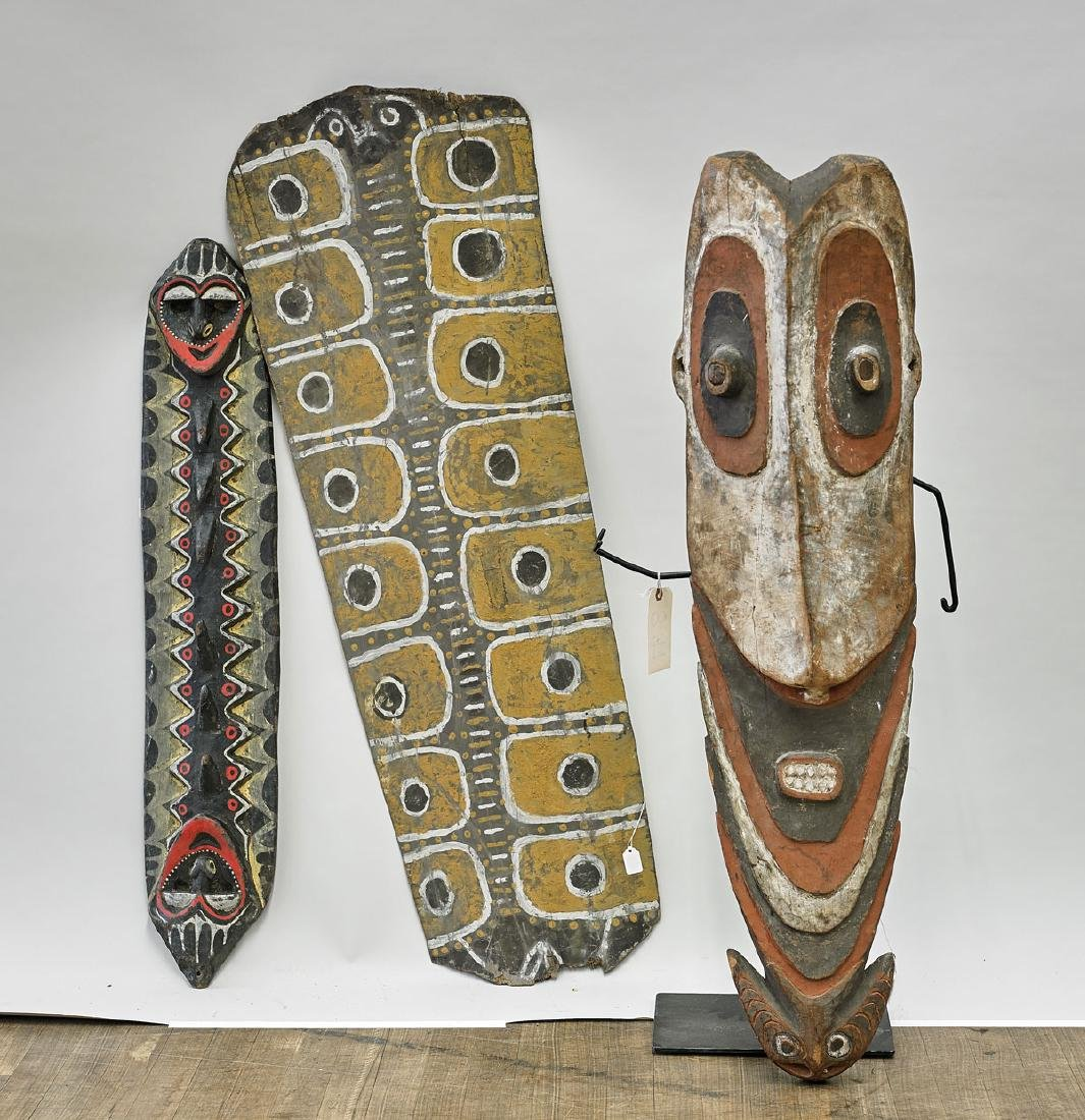 Three Large Papua New Guinea Polychrome Wood Pieces