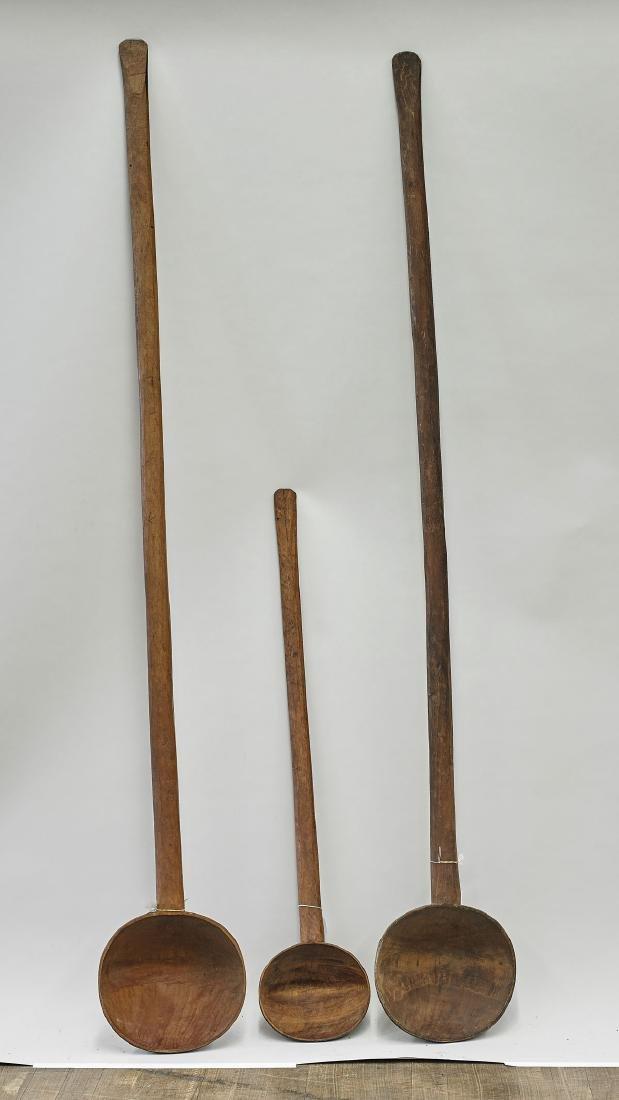 Three Massive Carved Wood Spoons