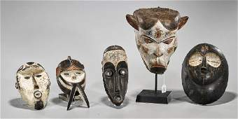 Group of Five Various African Masks