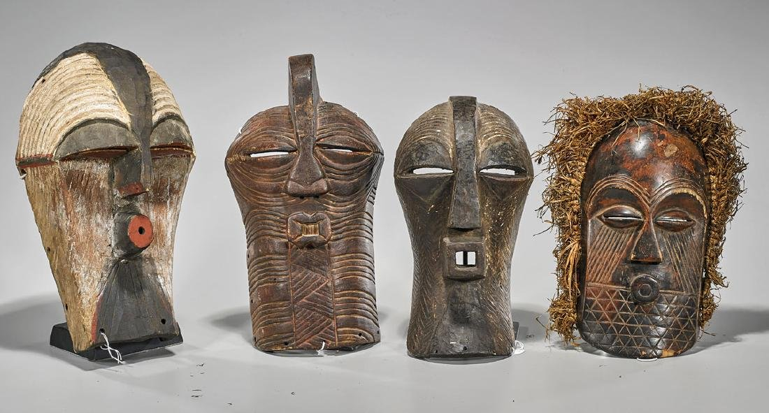 Group of Four Songye 'Kifwebe' Masks