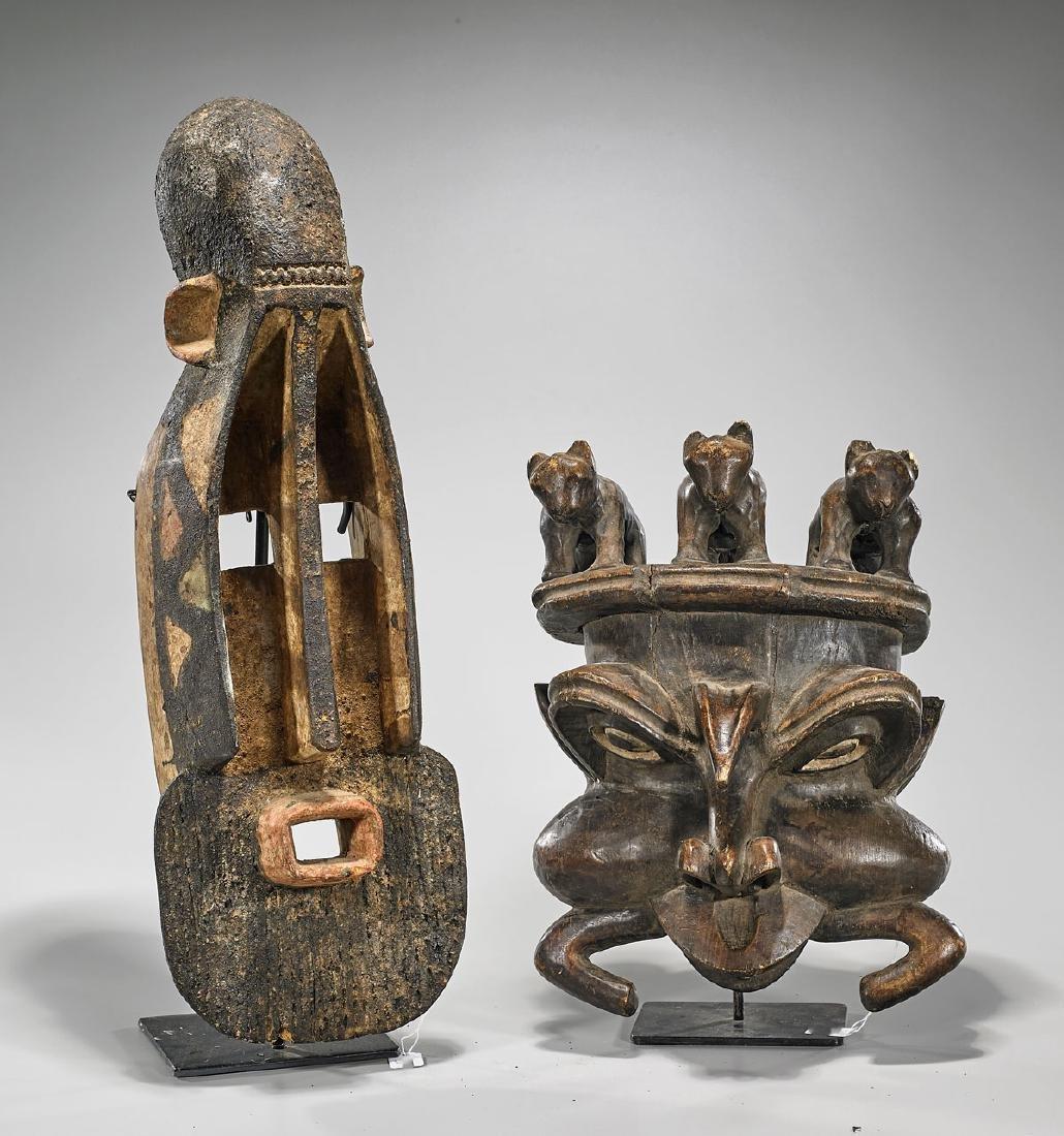 Two Bamileke & Dogon Helmet Masks