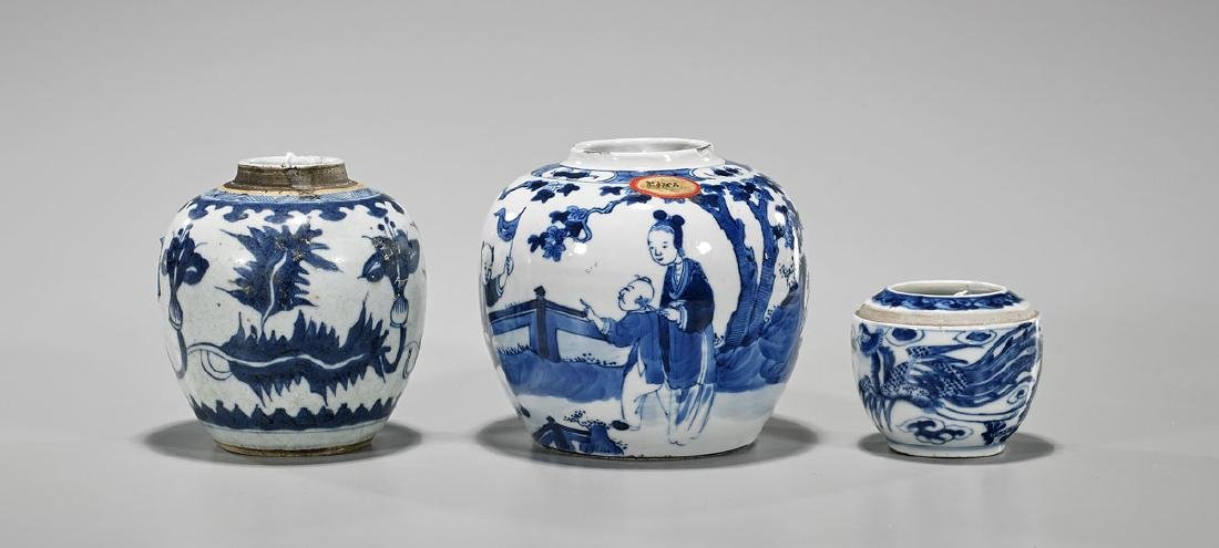 Three Antique Chinese Blue & White Porcelain Jars