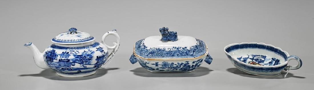 Three Antique Chinese Blue & White Export Porcelains