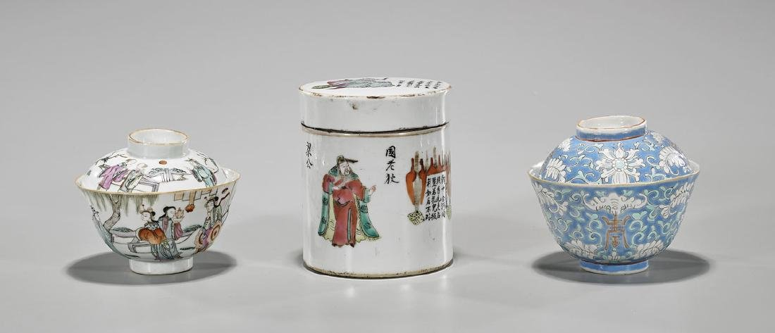 Group of Three Antique Chinese Enameled Porcelains