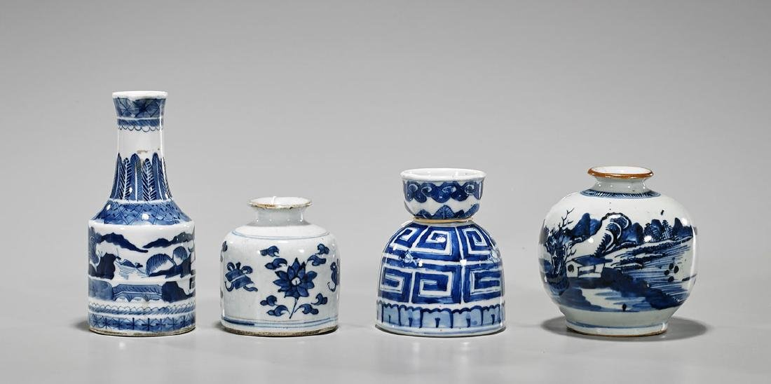 Group of Four Antique Chinese Blue & White Porcelain
