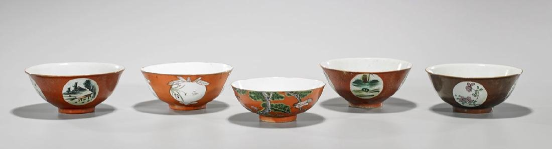 Group of Five Antique Chinese Enameled Porcelain Bowls