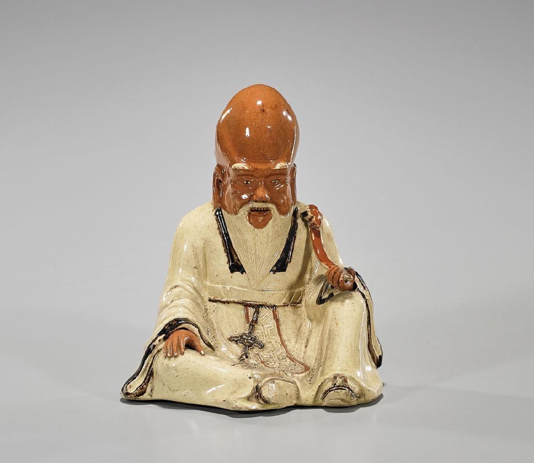 Antique Chinese Glazed Pottery Figure of Shoulao