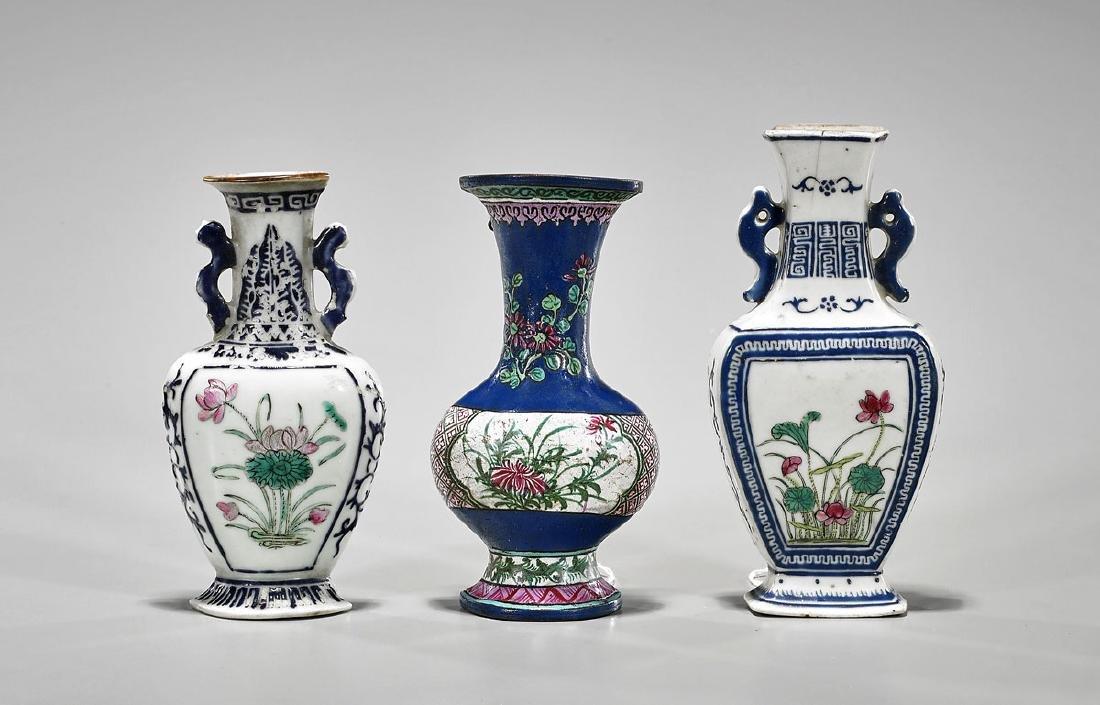 Three Antique Chinese Enameled Porcelain Wall Vases