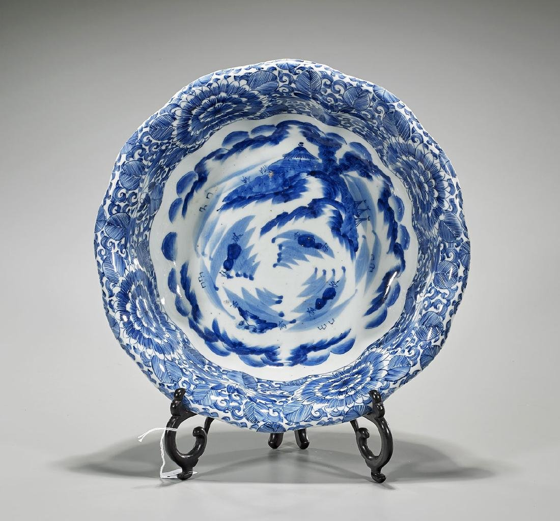Large Antique Japanese Blue & White Porcelain Bowl