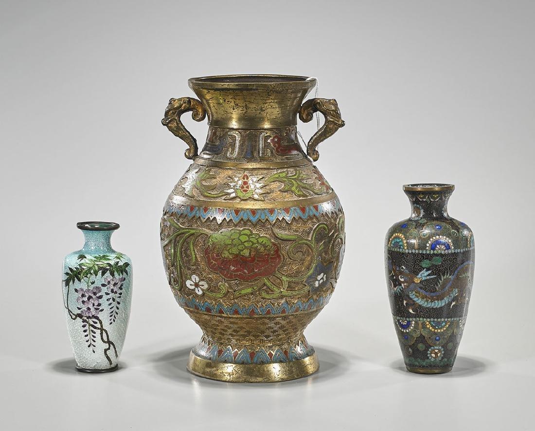 Three Various Japanese Metalwork Vases