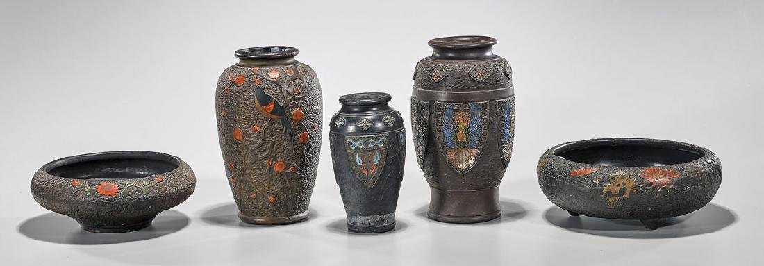 Group of Five Japanese Ceramic Pieces