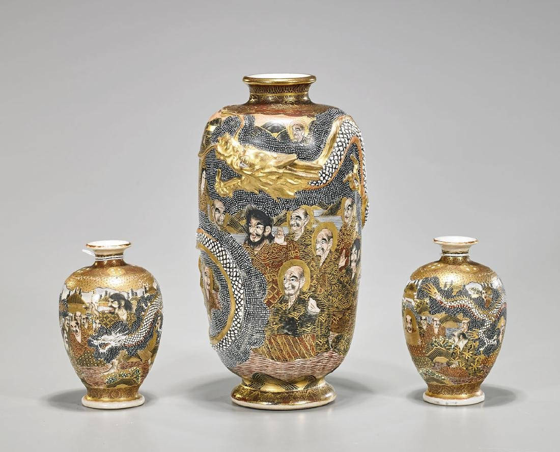 Group of Three Japanese Satsuma Earthenware Vases