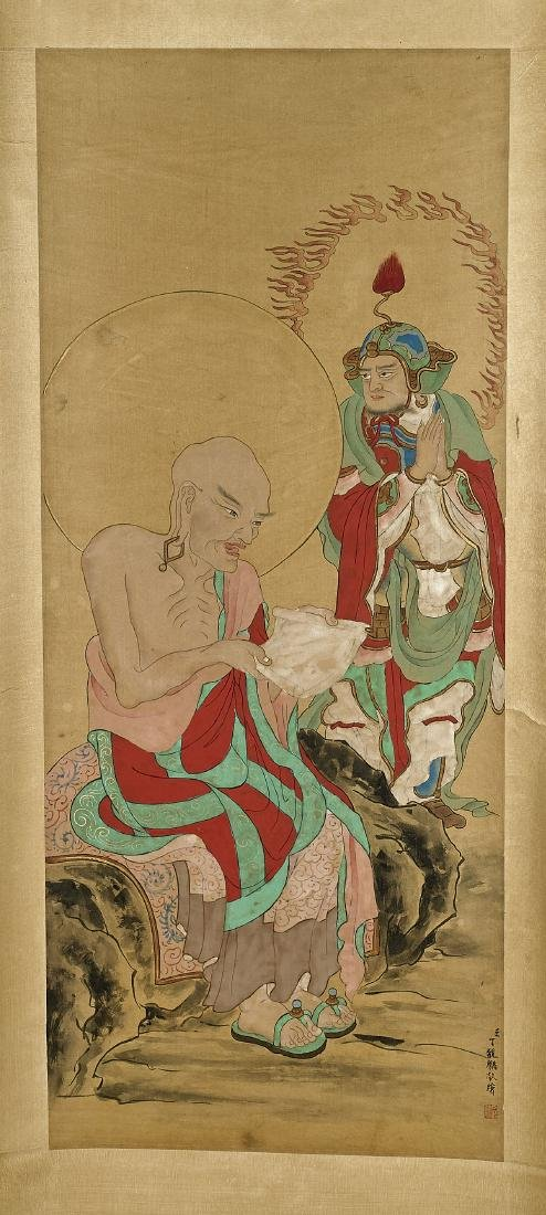 Two Chinese Silk Scrolls: Figural Scenes - 3