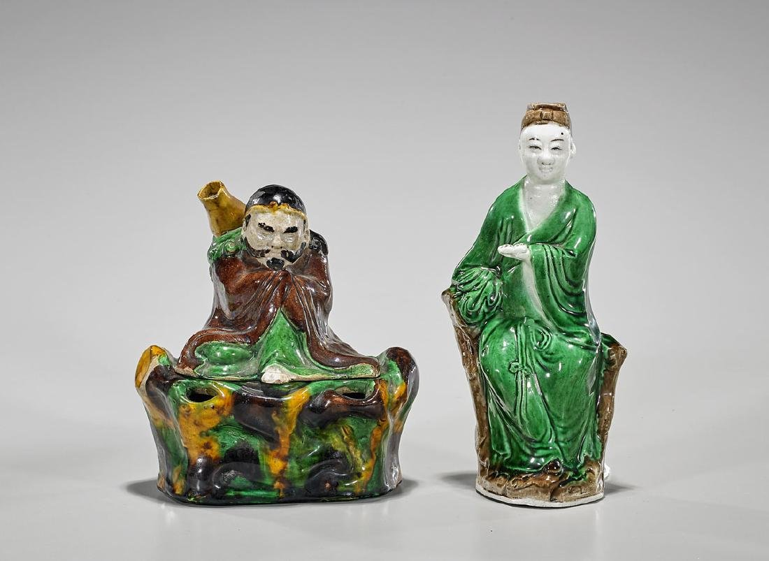 Two Chinese Glazed Ceramic Figures